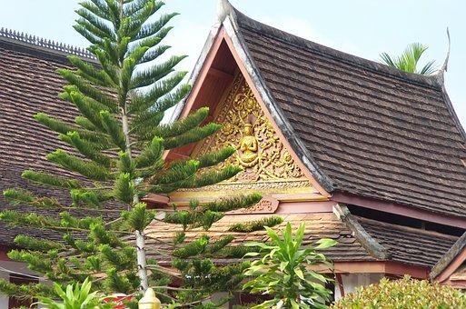Laos, Vientiane, Museum, Temple, Pavilion, Pediment