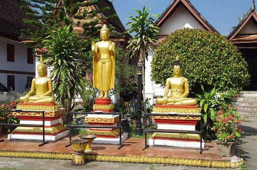 Laos, Luang-parbang, Temple, Buddhas, Statues, Prayer
