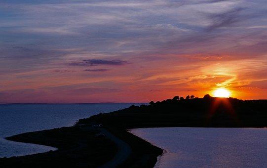 Sunset, Denmark, Sea, Baltic Sea, Coast, Water, Nature