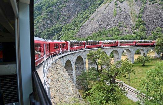 Train, Switzerland, Alpine, Bridge, Railway, Mountains
