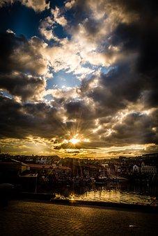 Harbour, Seascape, Sunset, Last Light, Sky, Harbor
