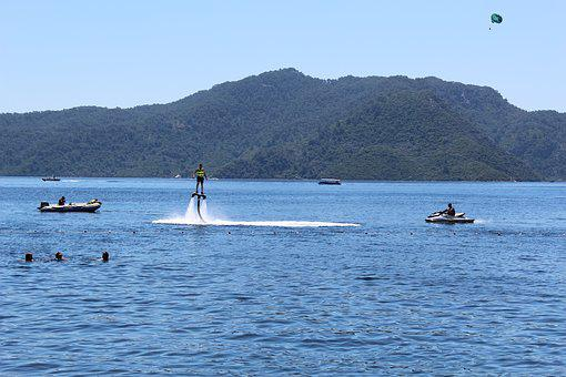 Sea, Summer, Beach, Sun, Flyboard, Flight, Water