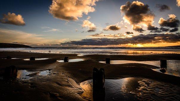 Seascape, Sunrise, Coast, Tide, Sky, Nature, Ocean