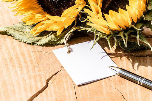 Greeting Card, Thank You Card, Sunflower, Map, Pen