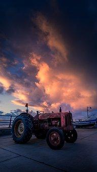 Sunrise, Coast, Tractor, Autumn, Beach, Sky, Scenic