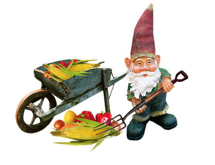 Gnome, Working, Gardening, Fun, Vegetables Barrow
