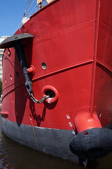 Red, Boat, Bow, Anchor, Water, Ship, Ocean, Vessel