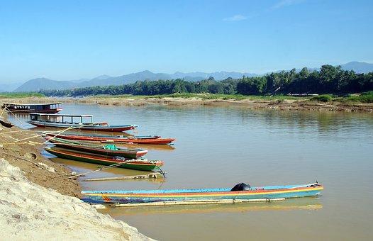 Laos, Mékong, Boats, Fishing, Fisherman, Landing, Water