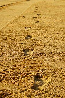 Footprints, Sand, Barefoot, Run, Brown Sand