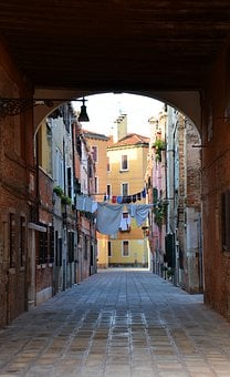 Goal, Passage, Clothes Line, Alley, Venice, Italy