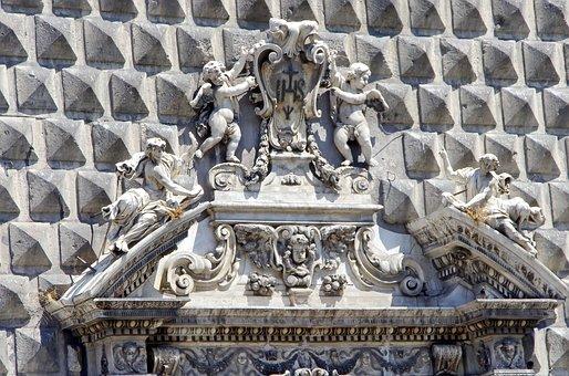Italy, Naples, Gesu Nuovo, Church, Porch, Sculptures