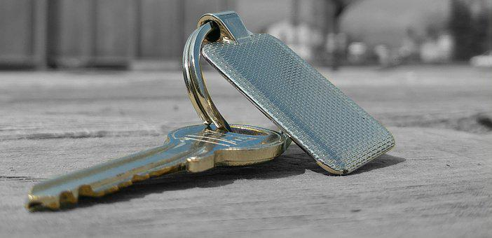 Key, Keychain, Metal, Grey, Shiny, Colorless, Mat