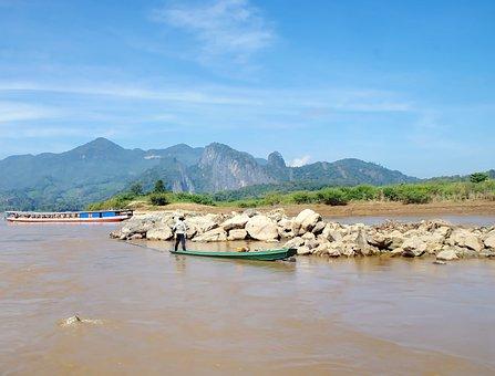 Laos, Mékong, Fisherman, Rocks, Cordillera Annamite
