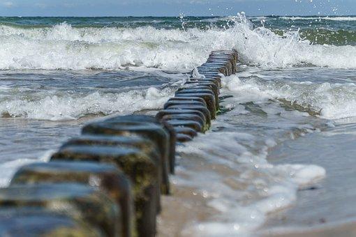 Baltic Sea, Groynes, Wave, Sea, Water, Beach, Wild Surf