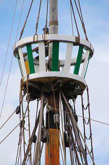 Crow's Nest, Mast, Nest, Ship, Rigging, Boat, Rope