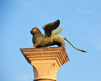 Statue, Lion, Venice, Bronze Statue, Winged Lion