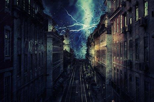 City, Rain, Storm, Flash, Lightning, Tornado