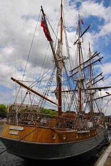 Ship, Masts, Travel, Sea, Blue, Sky, Water, Cruise