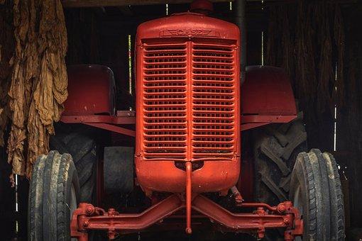 Tractor, Farm, Barn, Inside, Indoors, Rural