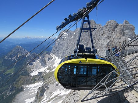 Cableway, Mountains, Rocks, Nature, Blue Sky, View