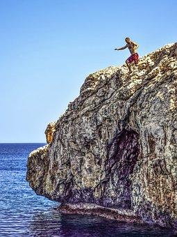 Jumping, Cliff, Jump, Freedom, Risk, Rock, Adventure