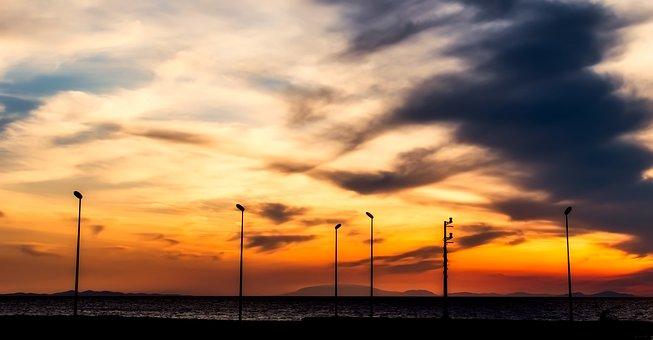 Sunset, Dusk, Lamppost, Silhouettes, Sea, Ocean
