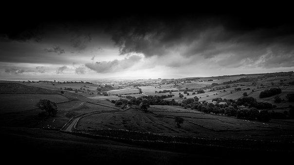 Yorkshire, Landscape, Black And White, Countryside