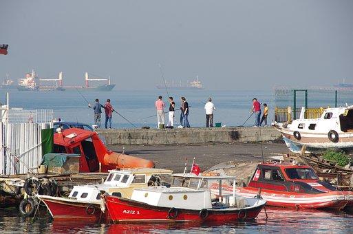 Istanbul, Marmara Sea, Fishermen, Boats, Ships, Morning