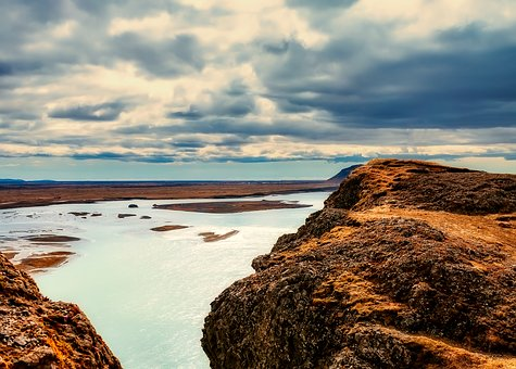 Iceland, River, Fjord, Sky, Clouds, Rocks, Mountains