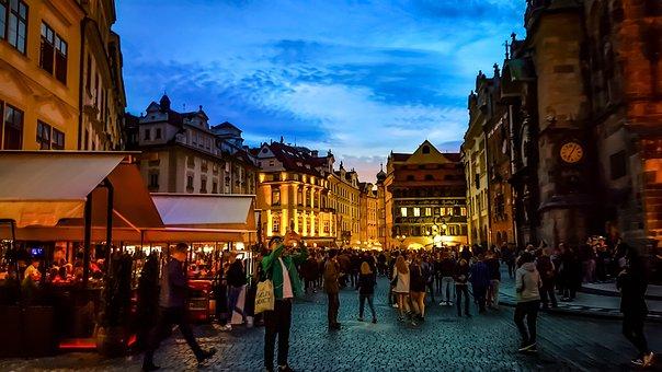 Prague, Czech, Evening, Lights, Lighting, Night