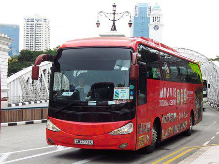 Bus, Singapore, Transport, Red Bus, City, Road, Urban