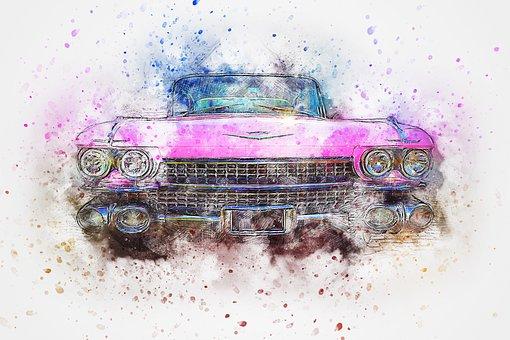 Car, Old Car, Cadillac, Art, Abstract, Watercolor, Auto