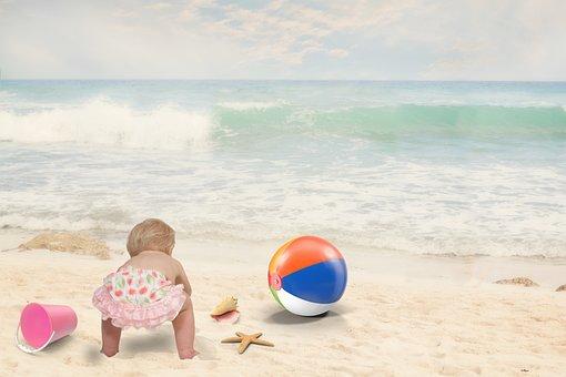 Beach, Baby, Child, Summer, Fun, Happy, Vacation, Sea