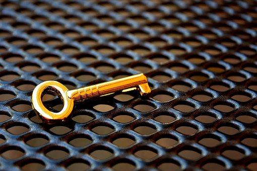 Key, Gold, Golden Key, Close, Security