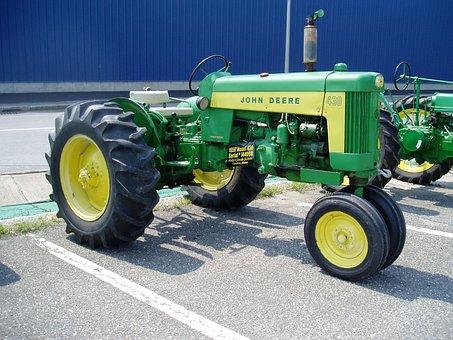 Tractor, John, Deere, Antique, Restored, Green