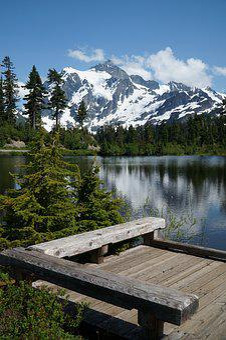Picture Lake, Mountain, Reflection, Sky, Lake, Water