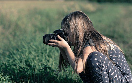 Girl, Taking, Picture, Camera, Field, Interested