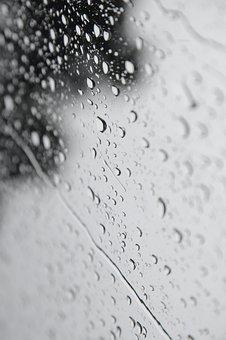 Raindrops, Windows, Pouring Rain