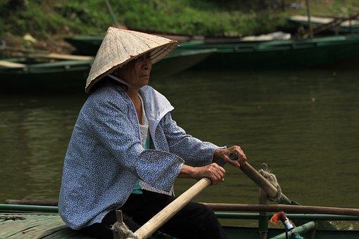 Viet Nam, Vietnamese, River, Oar, Raft, Boat, Water