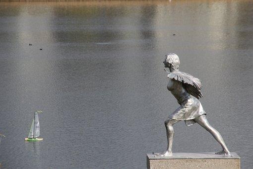 Sculpture, Art, Phoenix Lake, Woman, Angel, Wing