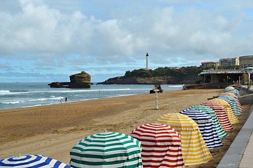 Biarritz, France, Beach, Landscape, Costa, Sea, Ocean