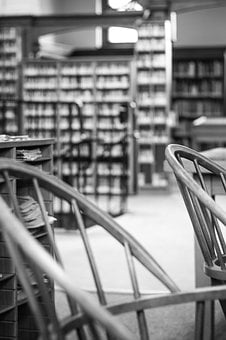 Library, Books, Chairs, Black White, Gray Book