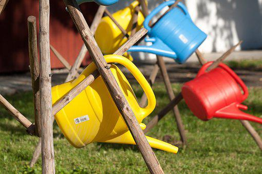 Watering Can, Plastic, Colorful, Red, Blue, Yellow