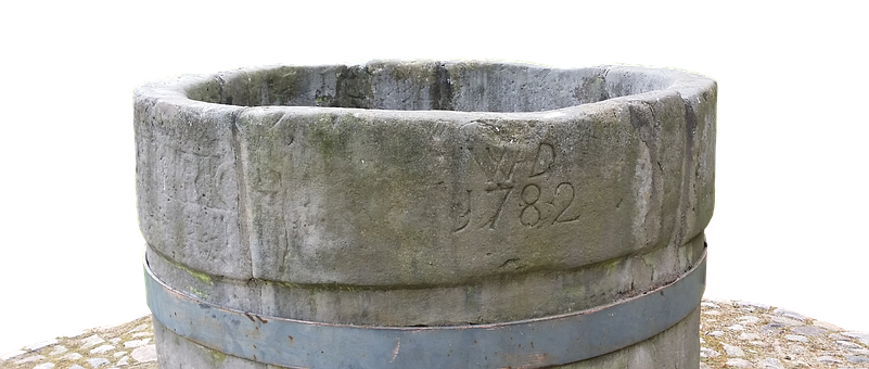 Fountain, Stone, Carved, Middle Ages, About, Deep, Old