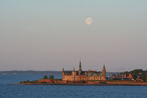 Castle, Sea, Frederiksborg, Building, Architecture