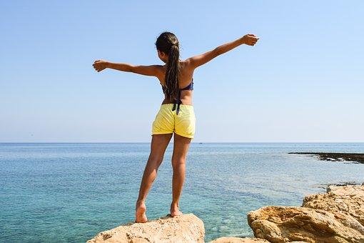 Girl, Enjoying, Nature, Young, Happy, Happiness, Summer