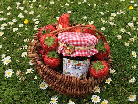 Strawberry Jam, Basketwork, Strawberry, Homemade Jam