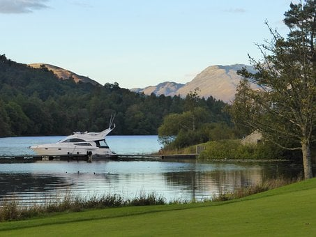 Loch, Sunset, Landscape, Scotland, Cruiser, Speedboat