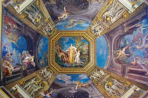 Italy, Vatican, Museum, Ceiling, Dome, Fresco, Art