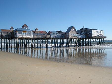 Maine, Beach, Old Orchard, Ocean, Coast
